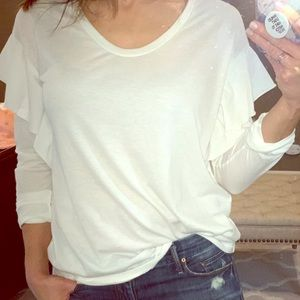 NATION LTD white top with ruffle shoulder